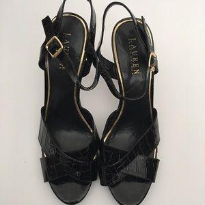 👗 Ralph Lauren Black Croc Design Heels